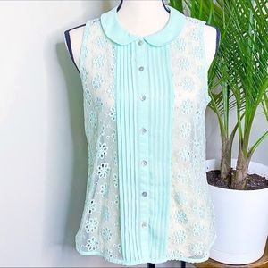 F21 Blue Sheer Lace Round Collar Button Down Top